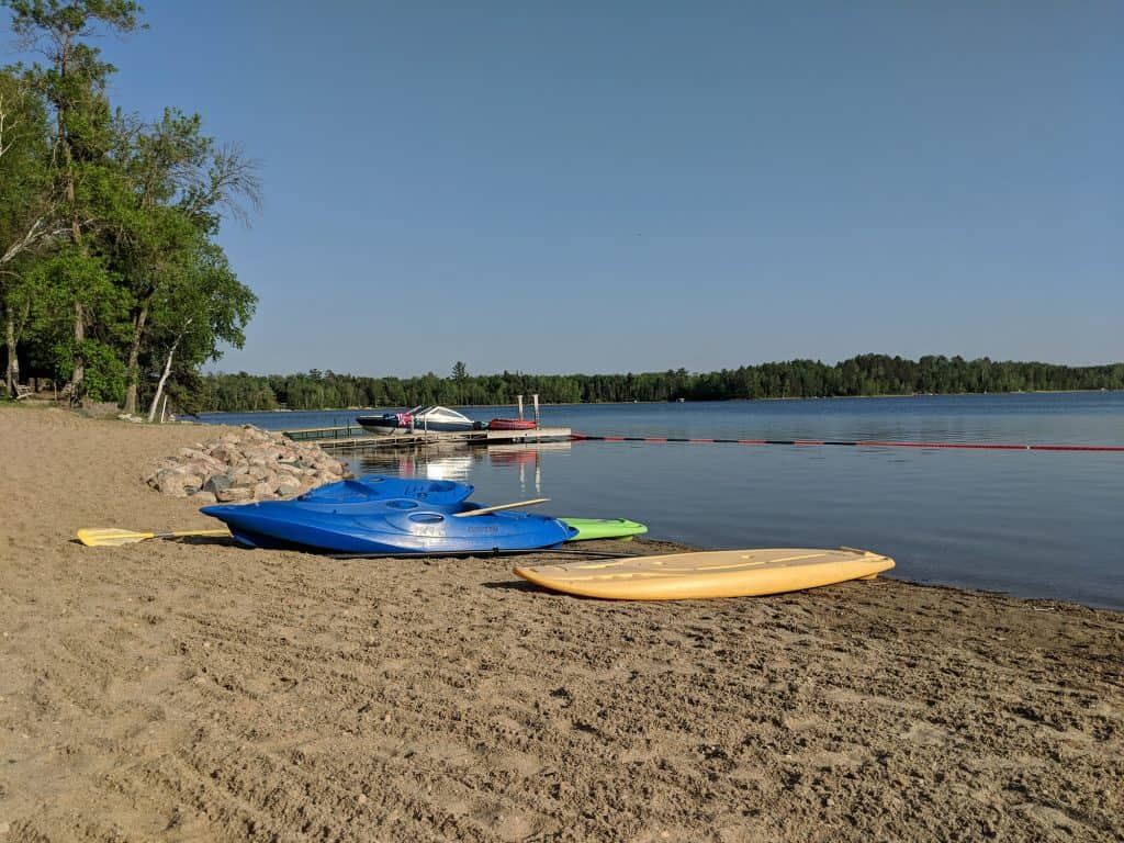 beach and beach toys on little mantrap lake
