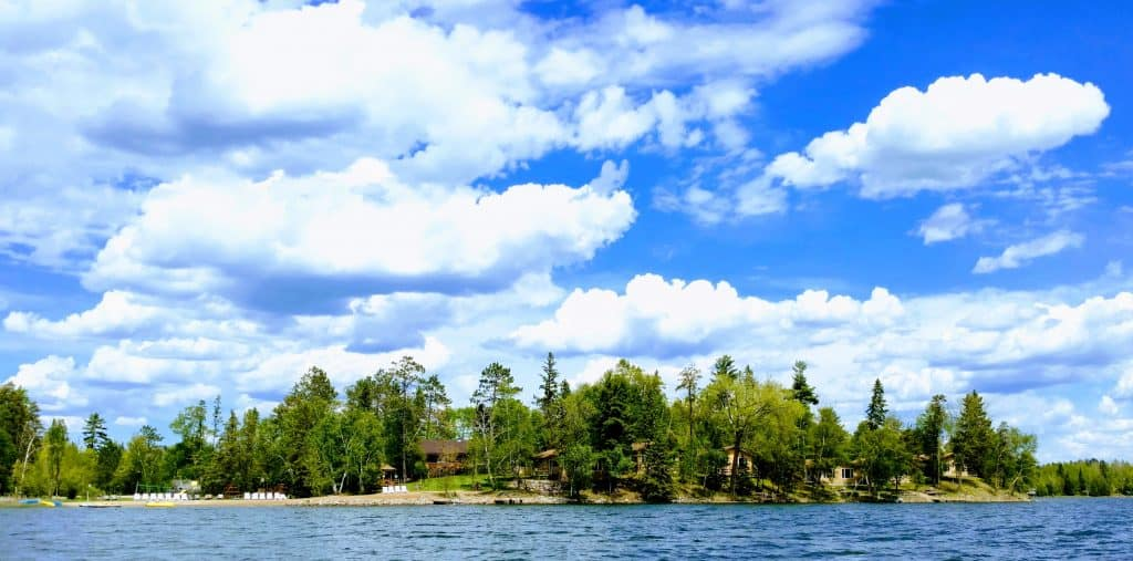 Scenic view of Little Norway Resort from Little Mantrap Lake